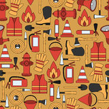 Pattern seamless of line firefighting equipment  illustration Royalty Free Stock Photos