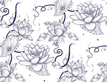 Pattern seamless of Lotus water lily vector beautiful flower blue linear background. Hand drawn fantasy art plant blossom, floral, Stock Photos