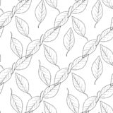Pattern the seamless monochrome with leaves vector illustration