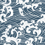 Pattern Seamless Ocean Waves hand draw asian style. White hand drawn on a blue background vector illustration