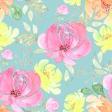 Pattern, seamless drawing a bouquet of flowers on a blue background royalty free illustration