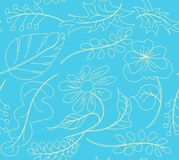 Pattern seamless pattern of flowers on a blue background, for tissue paper wallpaper Royalty Free Stock Images