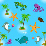 Pattern seamless with sea animals, palm Stock Photography