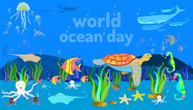 underwater sea animal. world ocean day. doodle hand drawing colorful design style. vector illustration eps10 stock illustration