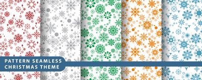 Pattern seamless snowflake set. Pattern seamless snowflake for wallpaper, vector illustration Royalty Free Stock Images