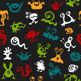 Pattern seamless texture monsters UFO bacteria virus full color Stock Photos