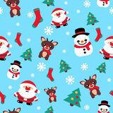 Pattern seamless texture with a snowman Christmas reindeer and S Royalty Free Stock Photography