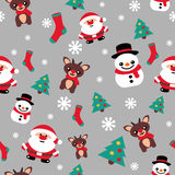 Pattern seamless texture with a snowman Christmas reindeer and S Royalty Free Stock Images