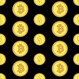 Golden coins with bitcoin and dollar signs seamless pattern. Crypto-currency market. Money icons on black background. Pattern seamless vector illustration Royalty Free Stock Image