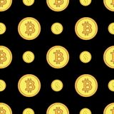 Golden coins with bitcoin and dollar signs seamless pattern. Crypto-currency market. Money icons on black background. Pattern seamless vector illustration Stock Photo