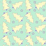Pattern seamless watercolor with yellow and violet fir trees and violet stars on green background vector illustration