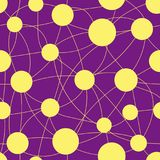 The pattern is seamless from yellow circles of different sizes and lines on a lilac background. Royalty Free Stock Photos