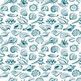 Pattern with seashells Royalty Free Stock Photo