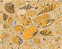 Pattern with seashells and stones Royalty Free Stock Images