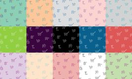 Vector set of seamless patterns with letters in the colourful background. stock illustration