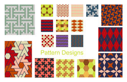 Pattern set. Set of 18 seamless rectangle and triange patterns vector illustration