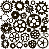 Pattern of a set of black gears. Pattern of the ink set of gears on a white background Stock Image