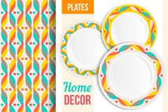 Pattern and set of decorative plates, dishes, crockery. Empty dishes, top view. Royalty Free Stock Photo