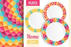 Pattern and set of decorative plates, dishes, crockery. Empty dishes, top view. Stock Photo