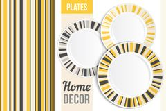 Pattern and set of decorative plates. Empty dishes, top view. Royalty Free Stock Photos