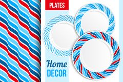 Pattern and set of decorative plates. Empty dishes, top view. Stock Photography