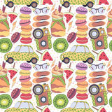 Pattern, set of different travel doodles elements, vacation holiday, romantic and summer things macaroons, car, fruits, camera Stock Photo