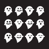 Pattern set emotions white n black bacground ghost vector image