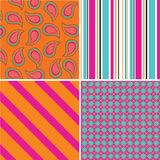 Pattern. A set of four coloured seamless patterns. Vector illustration Royalty Free Stock Image