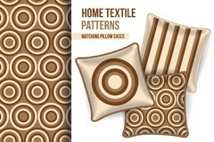 Pattern and three cushion throw pillows, home textile design. Pattern and set of 3 matching decorative throw pillows with this pattern applied. Pattern idea for Stock Photography