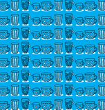 Pattern of a set of mugs Royalty Free Stock Photos