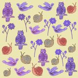 Pattern with a set of multi-colored figures: owls, flying birds, snails and flowers. royalty free illustration