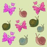 Pattern with a set of multi-colored figures: pink butterflies and multi-colored snails. vector illustration