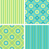 Pattern set. A set of seamless geometrical decorative floral and strip patterns. EPS8 vector Stock Image