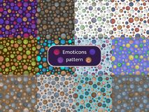 Pattern 09 Set of seamless patterns with the image of emoticons vector illustration