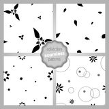 Pattern 015_SET 003. Сute seamless SET of patterns with flowers, dots and circles. Monochrome. Love, mood, romantic and Valentine`s Day background. Wrapping Royalty Free Stock Photos