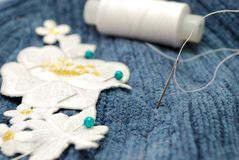 Pattern Sewing. Handkerchief Sewing with Threads and Needle Stock Photos