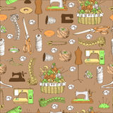 Pattern with sewing elements Royalty Free Stock Photography