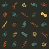 Pattern with sewing supplies Royalty Free Stock Photos
