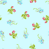 Pattern with sforget-me-not flowers and  roses Royalty Free Stock Photo