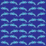 Pattern with sharks. Blue background Stock Photo