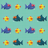 Pattern with sharks and fishes. Vector seamless checked pattern with goofy cartoon sharks and fishes Royalty Free Stock Images