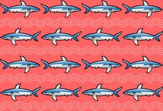 Pattern with sharks on pink background.  Royalty Free Stock Photos