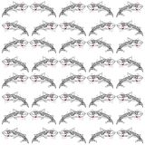 Pattern with sharks. White background Stock Image
