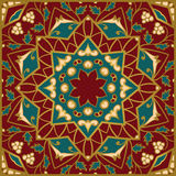 Pattern for shawl. Oriental pattern of mandalas. Vector rich ornament with floral elements. Template for textile, carpet, wallpaper, shawl Royalty Free Stock Images