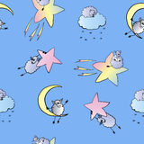 Pattern of sheep in space,  illustration Stock Image