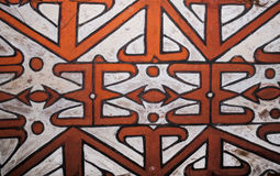 The pattern on the shield of a warrior Asmat tribe. INDONESIA, IRIAN JAYA, ASMAT PROVINCE, JOW VILLAGE - JUNE 12: The pattern on the shield of a warrior Asmat Royalty Free Stock Photo