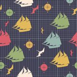 Pattern ships compasses sea bird decorative design on graph pape Royalty Free Stock Photography