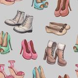 Pattern with shoes illustration Stock Photography
