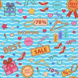 Pattern on shopping, themed design with different Stock Images