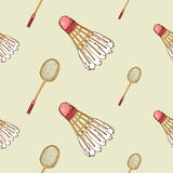 Pattern with shuttlecock and badminton racket Royalty Free Stock Photo